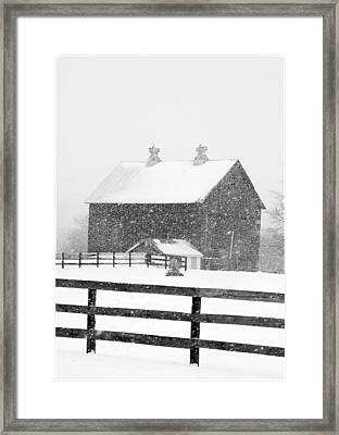 Black And White Photograph Of A Barn Near Cannonsburg During A Snowstorm Framed Print by Randall Nyhof