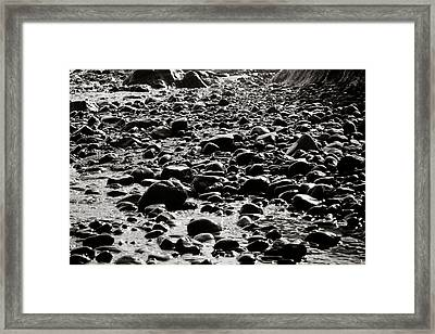 Black And White Rocky Beach Framed Print by Anthony Doudt