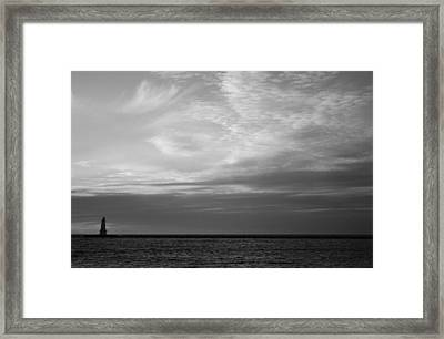 Black And White Sunset In Ludington Framed Print by Twenty Two North Photography