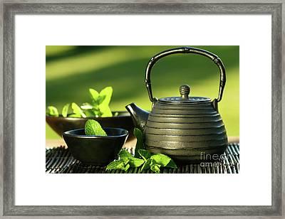Black Asian Teapot With Mint Tea Framed Print by Sandra Cunningham