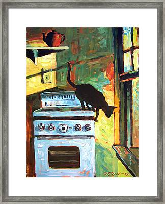 Black Cat In The Kitchen Framed Print by Roelof Rossouw