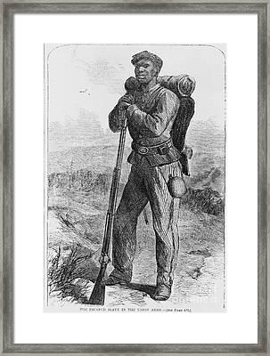 Black Civil War Soldier Framed Print by Photo Researchers