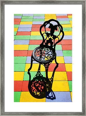 Black Iron Chair Framed Print by Garry Gay