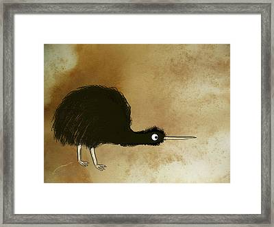 Black Kiwi Framed Print