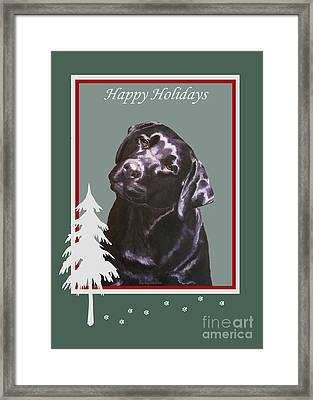 Black Labrador Portrait Christmas Framed Print