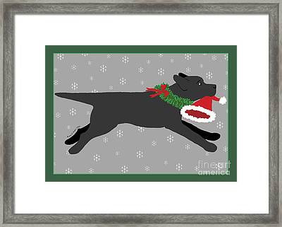 Black Labrador Steals Santa's Hat Framed Print