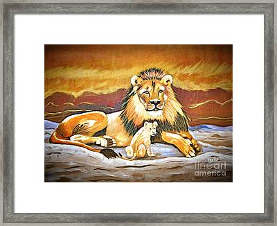 Black Maned Lion And Cub Framed Print by Phyllis Kaltenbach