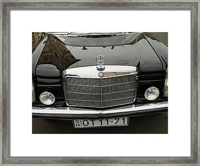 Black Mercedes Logo Framed Print by Odon Czintos