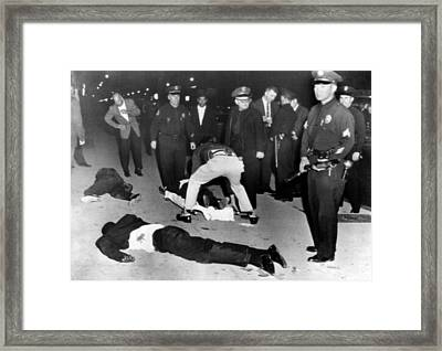 Black Muslims Battle With Los Angeles Framed Print by Everett