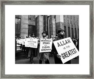 Black Muslims Picket Front Of New York Framed Print by Everett