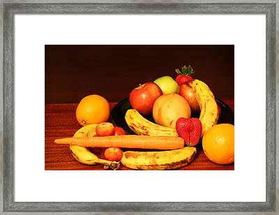 Black Plate And Fruit Framed Print by Andrea Nicosia