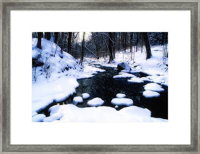 Black River Winter Scenic Framed Print by George Oze