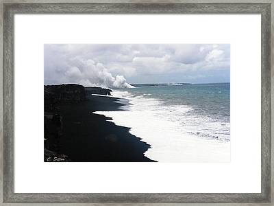 Black Sand Beach Framed Print