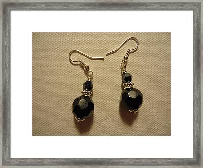 Black Sparkle Drop Earrings Framed Print by Jenna Green