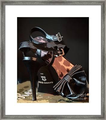 Black Strappy Heels Framed Print by Anne Kitzman
