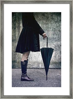 Black Umbrellla Framed Print by Joana Kruse