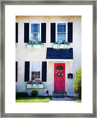 Black Window Shutters With Flowers Framed Print by Paul Ward