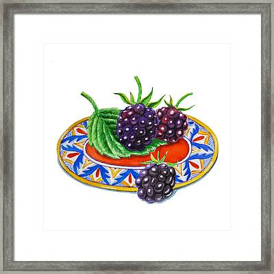 Blackberries Framed Print by Irina Sztukowski