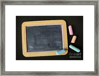 Blackboard Chalk Framed Print by Carlos Caetano