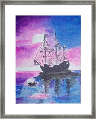 Framed Print featuring the painting Blackpearl by Audrey Pollitt