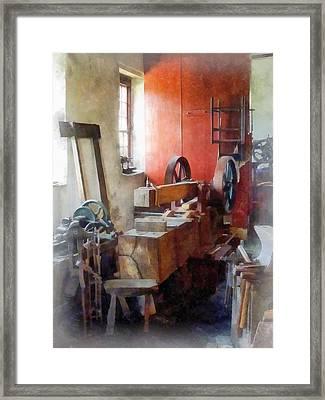 Blacksmith Shop Near Windows Framed Print by Susan Savad