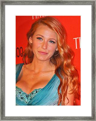 Blake Lively At Arrivals For Time 100 Framed Print by Everett