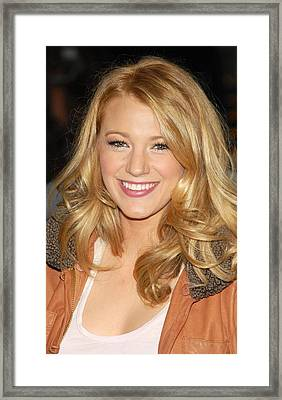 Blake Lively At Talk Show Appearance Framed Print by Everett