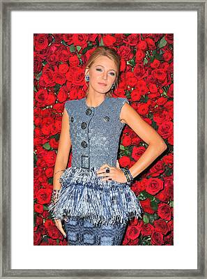 Blake Lively Wearing A Chanel Couture Framed Print by Everett