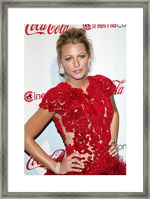 Blake Lively Wearing A Marchesa Dress Framed Print by Everett