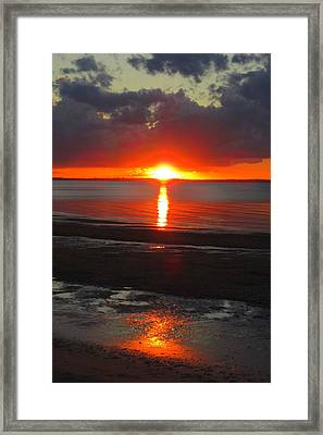 Framed Print featuring the photograph Blazing Sunset by Ramona Johnston