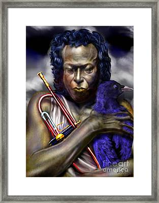 Blessings And Curses - Miles Davis Framed Print by Reggie Duffie