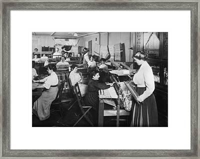 Blind Women Weaving At Looms Framed Print