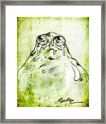 Framed Print featuring the drawing Blob Monster by Nada Meeks