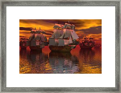 Blockade At Yorktown Framed Print by Claude McCoy