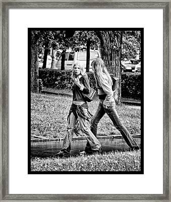 Framed Print featuring the photograph Blond Girls In Russian Park by Rick Bragan