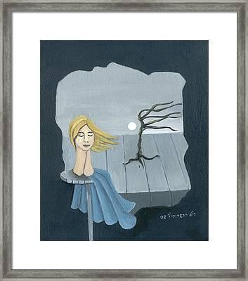 Blond In The Wind Surrealistic Landscape Windy Tree Woman Head In Blue And Yellow  Framed Print by Rachel Hershkovitz