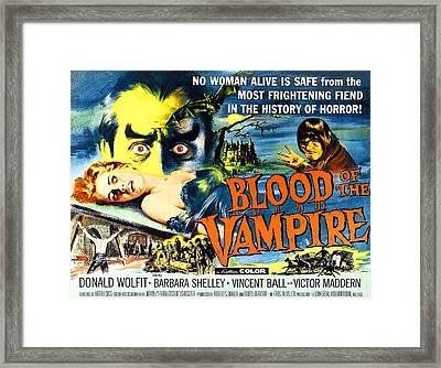Blood Of The Vampire, Girl On Table Framed Print