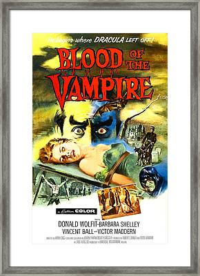 Blood Of The Vampire, Woman On Table Framed Print