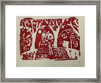 Framed Print featuring the painting Blood Rituals In Red For The Mayan Forest Agriculture With Trees Houses And Land Plots by M Zimmerman