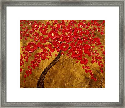 'blossom' Original Impasto Palette Knife Abstract Painting Cherry Tree Framed Print by Aboli Salunkhe