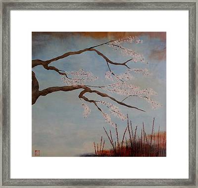Blossoms Over The Lake Framed Print by Catherine JN Christopher