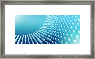 Blue Abstract Cubes In A Curve Framed Print