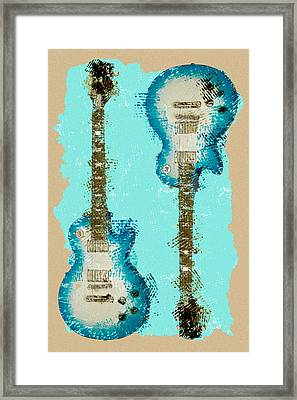 Blue Abstract Guitars Framed Print by David G Paul
