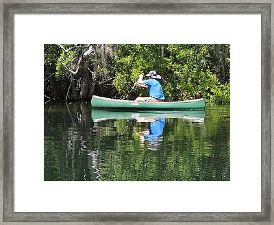 Blue Amongst The Greens - Canoeing On The St. Marks Framed Print by Marilyn Holkham