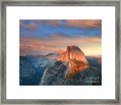 Blue And Orange Sunset Over Half Dome Yosemite Framed Print