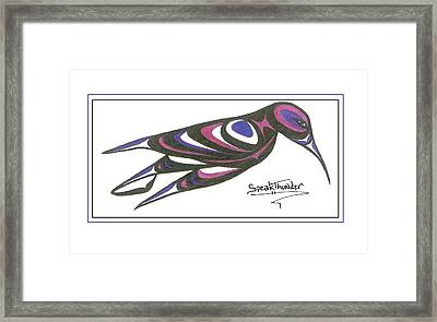 Blue And Purple Humming Bird Framed Print
