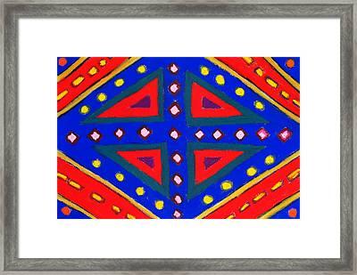 Blue And Red Ornamental Pastel Diamond Pattern Framed Print by Kazuya Akimoto