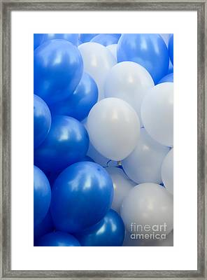 Blue And White Balloons  Framed Print
