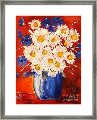 Blue And White Flowers Framed Print by Judy Morris