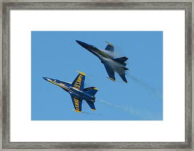 Blue Angels Break Framed Print by Samuel Sheats